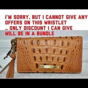 NWT Brahmin Cognac Collodi Leather Debra Wristlet